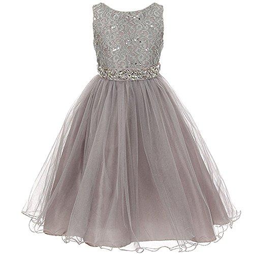 Big Girls Sleeveless Dress Glitters Sequined Bodice Double Layer Tulle Skirt Rhinestones Sash Flower Girl Dress Silver - Size 8 -