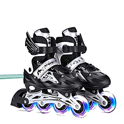 AIAIⓇ Adjustable Kids Full Flash Inline Single Row Roller Skates Male and Female Teenagers Adults ice Skates Roller Skates PU mesh: Home & Kitchen