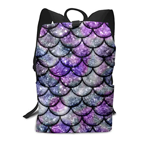 Casual Rucksack Large Capacity Multipurpose Anti-Theft Carry-On Bag Backpack for Gym Outdoors Bicycle - Sparking Mermaid Fish Scales Purple, Travel Hiking Daypack