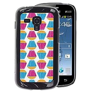 A-type Arte & diseño plástico duro Fundas Cover Cubre Hard Case Cover para Samsung Galaxy S Duos S7562 (Teal Purple White Sweets Baking)