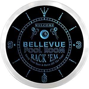 ncpy2255-b Bellevue sala de billar rack 'em cerveza signo de neón LED reloj de pared