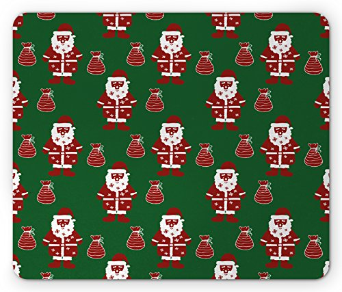 Geometric Mouse Pad by Ambesonne, Santa Claus Holding Present Bag on Vibrant Background Happiness Festive, Standard Size Rectangle Non-Slip Rubber Mousepad, Green Ruby - Festive Bag Santa