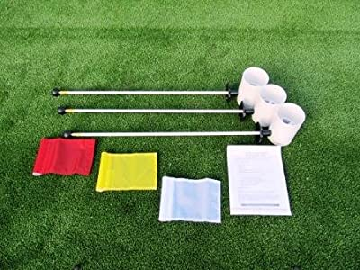 "Golf Practice Putting Green - Natural or Synthetic - Deluxe Accessory Kit - (3) Bright White Plastic 6"" Deep Regulation Cups + (1) Solid Red Jr Flag + (1) Solid Yellow Jr Flag + (1) Solid White Jr Flag + (3) 30"" White Fiberglass Pin Markers with Ball Lift"