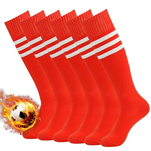 Red Soccer Socks with Striped, Three Street Unisex Cushioned Over The Calf Comfort Soccer Baseball Team Long Tube Socks Red+White Stripe ()