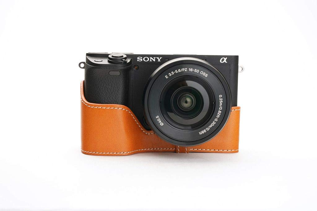 Handmade Genuine Real Leather Full Camera Case Bag Cover for Sony A6400 Brown Color