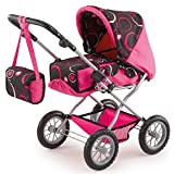 Bayer 46 - 75cm Dolls Pram Combi Grande Circle Design with Bag (Pink/ Black)