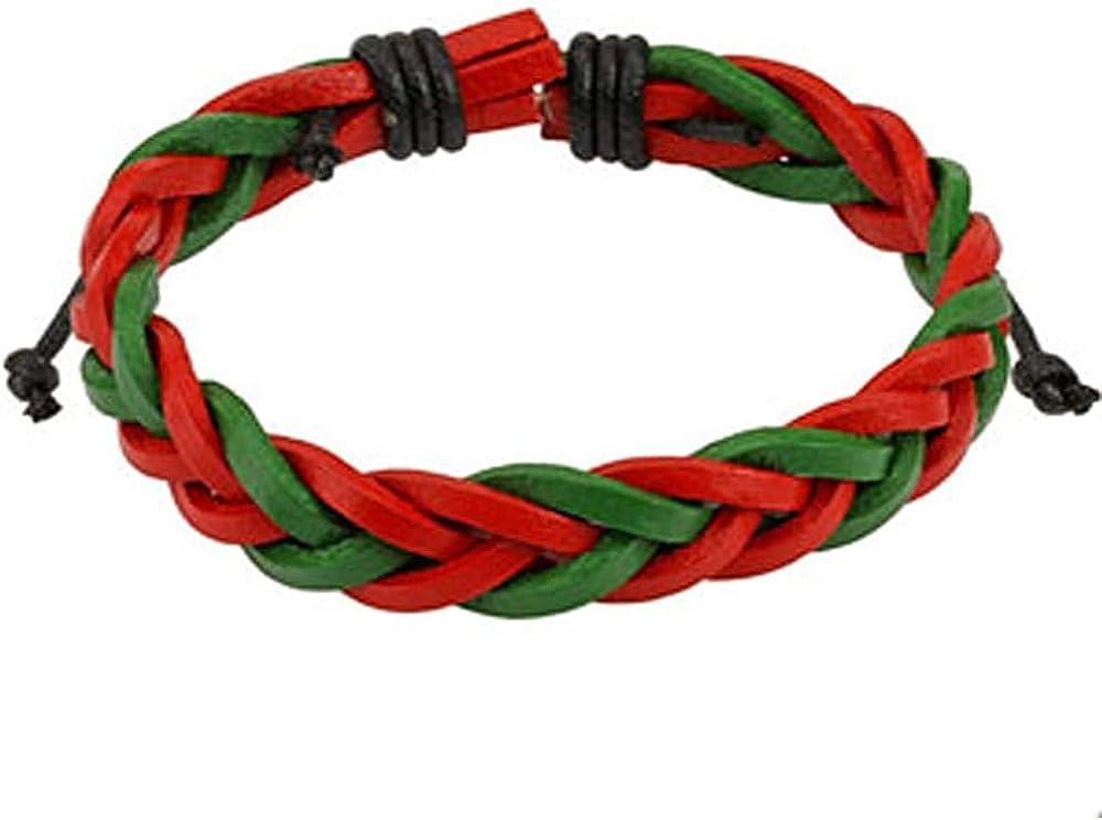 Pulsera de Cuero Trenzado Rojo y Verde con Cordones