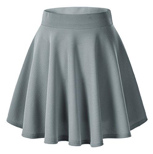 Urban CoCo Women's Basic Versatile Stretchy Flared Casual Mini Skater Skirt (XS, Grey)