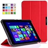 MoKo Dell Venue 11 Pro Case - Ultra Slim Lightweight Smart-shell Stand Case for Dell Atom Architecture (Model 5130) Venue 11 Pro 10.8 inch Tablet, RED (With Interior Hand Strap, Stylus Pen Loop, Will Not Fit For Dell Venue pro Haswell version (Model 7130/7139))