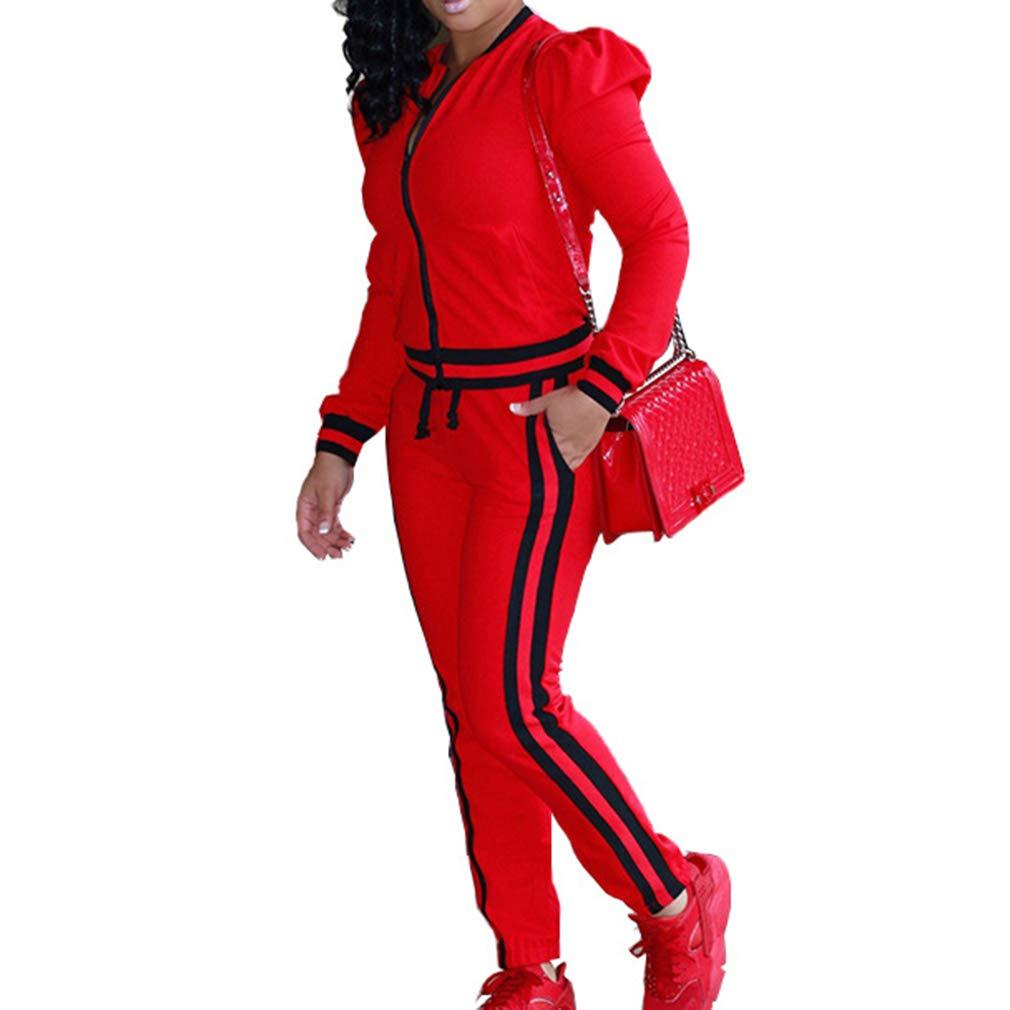 Due Pezzi Tuta da Ginnastica Donna, Manica Lunga Cerniera Giubbotto e Pantaloni Lungo Moda Tuta Jogging Training Sportiva Casual Abbigliamento Sportivo S-3XL