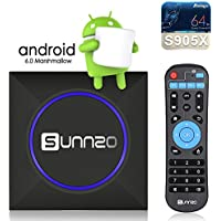 SUNNZO Android 6.0 TV Box Colorful LED Light Ultra HD 4K Amlogic S905X 1GB DDR3 8GB eMMC Streaming Media Player (2017 Newest Version)