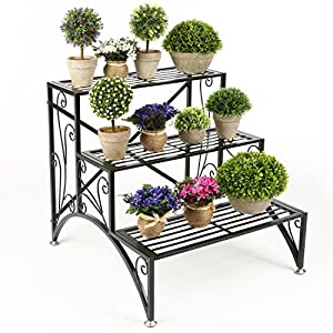 MyGift 3 Tier Planter Rack, Step Style Folding Plant Pot Shelf Stand, Black