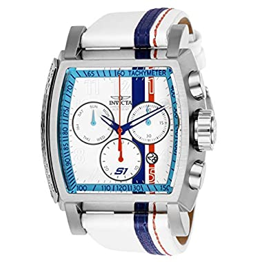 0cb627b6d Invicta Men's S1 Rally Stainless Steel Quartz Watch with Leather-Synthetic  Strap, White,