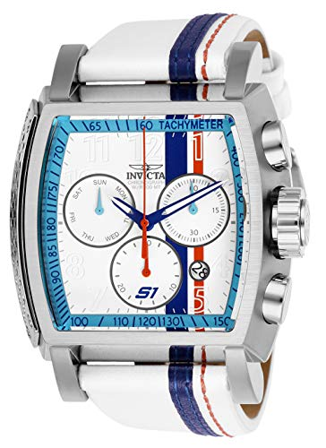 (Invicta Men's S1 Rally Stainless Steel Quartz Watch with Leather-Synthetic Strap, White, 26 (Model: 26394))
