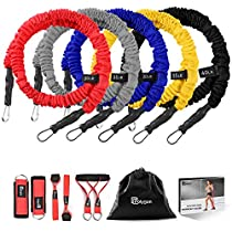 Resistance Bands Set, Polygon Upgraded Resistance Tubes with Anti-Snap Heavy Duty Protective Sleeves, 10 Pieces include 5 Stackable Exercise Bands, Door Anchors, 2 Legs Ankle Straps, 2 Foam Handles , up to175lbs