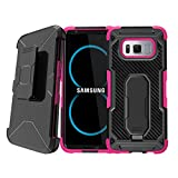 Tactical Armor Case for [ Samsung Galaxy S8 Plus ] S8+ Pink Case, Extreme Heavy Duty Rugged Protector [Swivel Belt Clip] with [Kickstand] Galaxy S8 Edge Holster Case by Untouchble - Pink