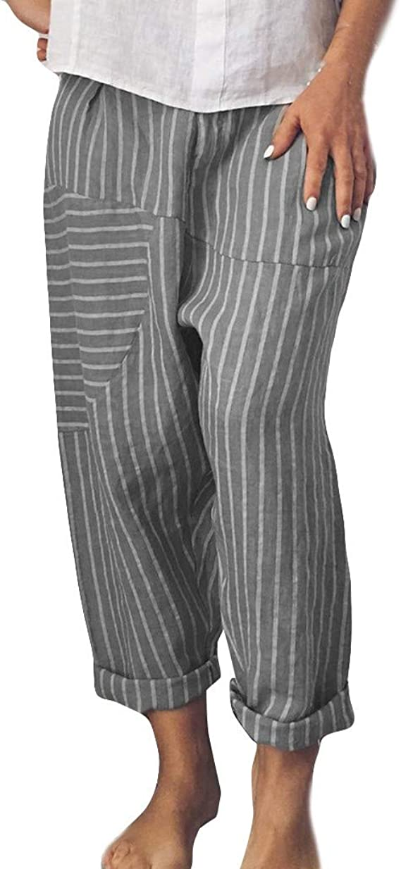 DOUJI レディース女ズボン パンツ ストライプ コットン  , Amazon