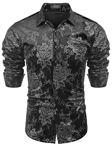 Coofandy Mens Winter Thermal Fleece Floral Long Sleeve Button Down Flannel Shirt Black Small
