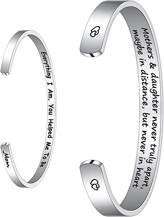 Personalized I Love You to the Moon and Back Bracelet Birthstones Grandmother Bangle Mother Bangle Gifts for Her Hand Stamped Jewelry