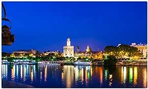 España casas ríos ciudades noche Sevilla muebles & decoración imán imanes de nevera: Amazon.es: Hogar