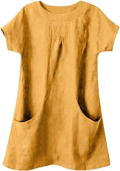Camisetas Mujer Verano Color sólido Top de algodón y Lino para ...