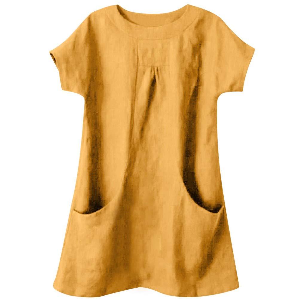 Damen Leinen T-Shirt Rundhals Leinenhemd Mit Tasche Blusen Knielang Casual Einfarbig Shirt Oversize Tunika Tops Casual Lose Sommer Hemdblusen Kurzarm Oberteile Frauen Freizeit Hemd