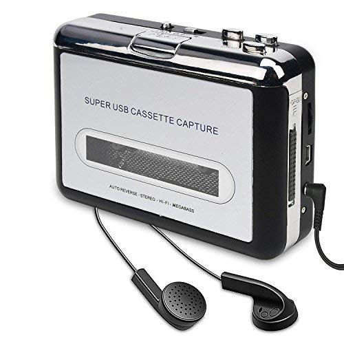 (Cassette Player, Cassette Tape to MP3 CD Converter Via USB, Convert Walkman Tape Cassette to MP3 Format, Compatible with Laptop and PC)