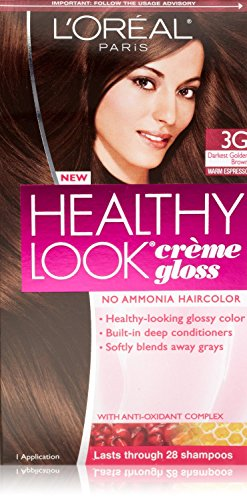 3 Pk, L'Oreal Paris Healthy Look Creme Gloss, Darkest Golden Brown / Warm Espresso #3G