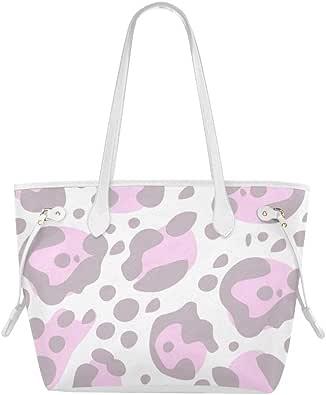 Bolso de mano estampado Vaca Piel de mancha animal rosa y