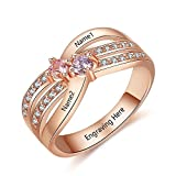 Lam Hub Fong Personalized Promise Rings with 2 Simulate Birthstones Engrave 2 Names Mothers Rings Engagement Rings for Women (6)