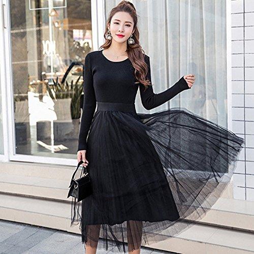 Mujeres Señoras Larga black De De Camiseta Knit ZHUDJ Dress Manga Splicing PgwaF6xqW