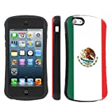 Apple iphone 5C Ultra Shock Absorbent Tough Grip Black Case By SkinGuardz - Mexican Flag