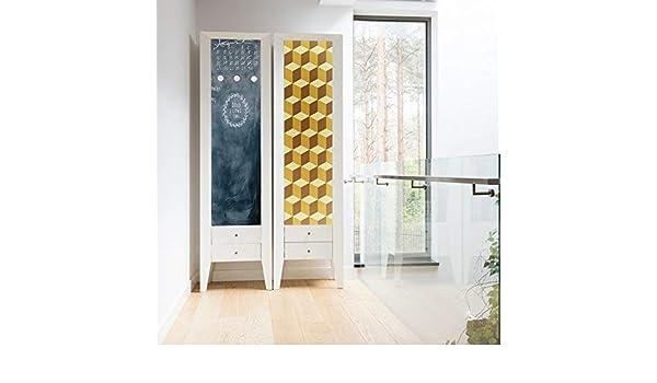 WALPLUS Creative Kit - Adhesivo Decorativo para Pared, diseño de Cubos y pizarras 3D, Color Amarillo, Vinilo, Multicolor, 64 x 5,5 x 5,5 cm: Amazon.es: Hogar