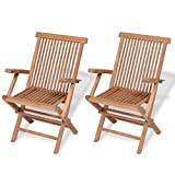 Festnight Set of 2 Teak Wood Folding Dining Chairs with Arm Rest Outdoor Patio Garden Yard Folding Ergonomic Seat Dining Chair (Brown)