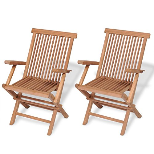 Festnight Set of 2 Teak Wood Folding Dining Chairs with Arm Rest Outdoor Patio Garden Yard Folding Ergonomic Seat Dining Chair (Brown) ()