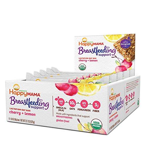 Happy Mama Breastfeeding Support Lactation Oat Bars, Cherry Lemon, 1.58 ounces, 15 count