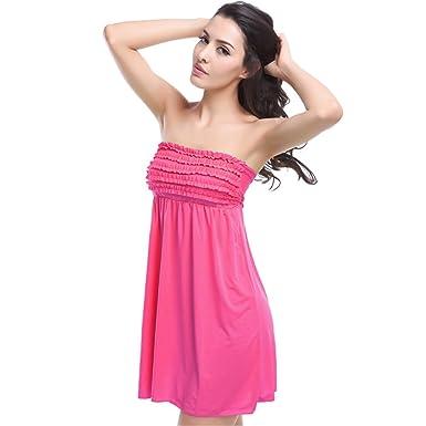 94157c950f Yanekop Women Bathing Suit Cover Up Srtrapless Beach Dress Tankini Tops  Swimwear(Fuchsia)