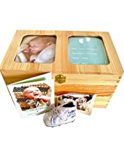 Wooden Baby Keepsake Box - Store Precious Keepsakes and Memories in a Premium Storage Box - Perfect Gift for Any New Parent - Space to Display a Picture of Your Baby and Birth Details in The Box Lid