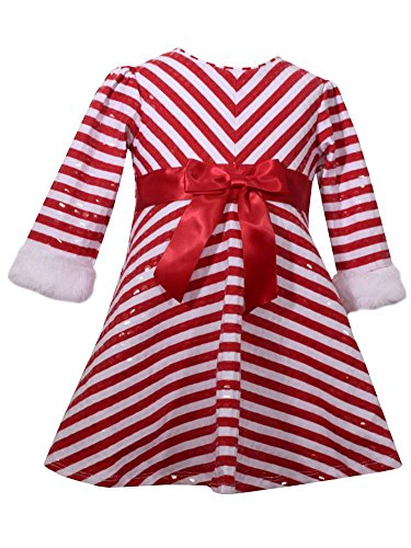 Bonnie Baby Infant Girls Red Candycane Stripe Christmas Holiday Party Dress Baby Outfit -