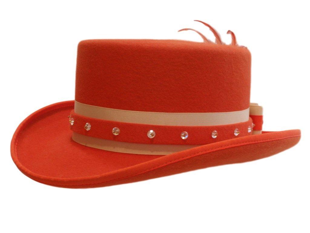 D Bar J Hat Brand, Female, Top Hat, Size 6 7/8, Orange