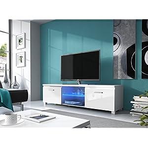 Comfort Home Innovation– Meuble Bas TV LED, Salon-Séjour, Blanc Mate et Blanc Laqué, Dimensions: 150 x 40 x 42 cm de…
