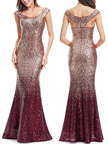 Sparkle Bridesmaid Dress - Ever-Pretty Womens Floor Length Sparkle Sequins Bridesmaid Dress Red 16 US/XXL