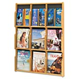 Expose Adj Magazine/Pamphlet Nine Pocket Display, 29-3/4w x 38-1/4h, Medium Oak, Sold as 1 Each