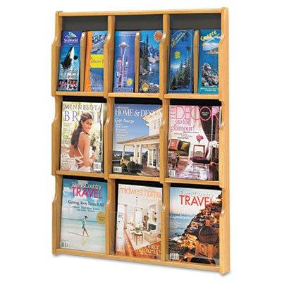 Expose Adj Magazine/Pamphlet Nine Pocket Display, 29-3/4w x 38-1/4h, Medium Oak, Sold as 1 Each - 9 Pocket Magazine Display