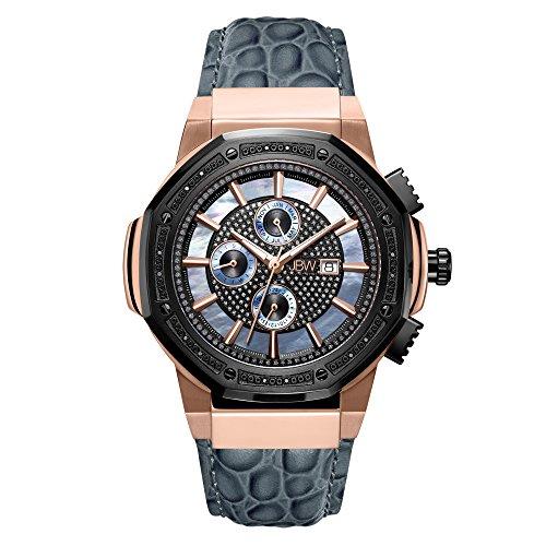 - JBW Men's 10-Year Anniversary Saxon 0.16 ctw Diamond Wrist Watch with Leather Bracelet