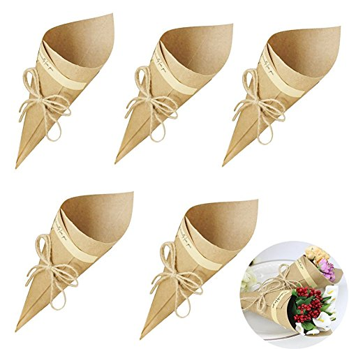 50PCS Retro Folding Kraft Paper Finger Food Cone Bouquet Candy Chocolate Bags Boxes Wedding Party Gifts Packing with Hemp Ropes