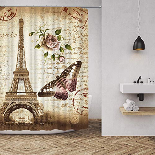 hipaopao Eiffel Tower Butterfly Flower Vintage Fabric Shower Curtain Sets Bathroom Decor with Hooks Waterproof Washable 72 x 72 inches Yellow Pink Green (Eiffel Outdoor Tower)