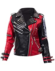 Aus Eshop Womens Heartless Asylum Harley Quinn Studded Biker Black & Red Costume Leather Jacket