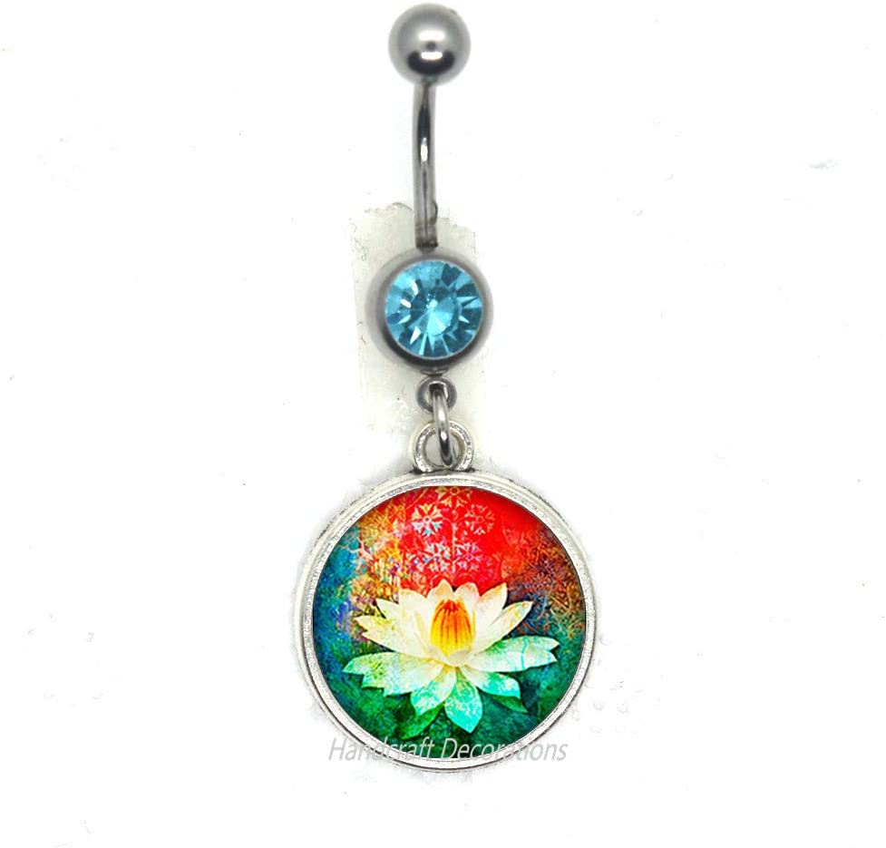 Two Feathers Jewelry Lotus Belly Ring Lotus Flower Belly Ring Lotus Charm Silver Belly Ring Belly Button Jewelry Aurora Borealis