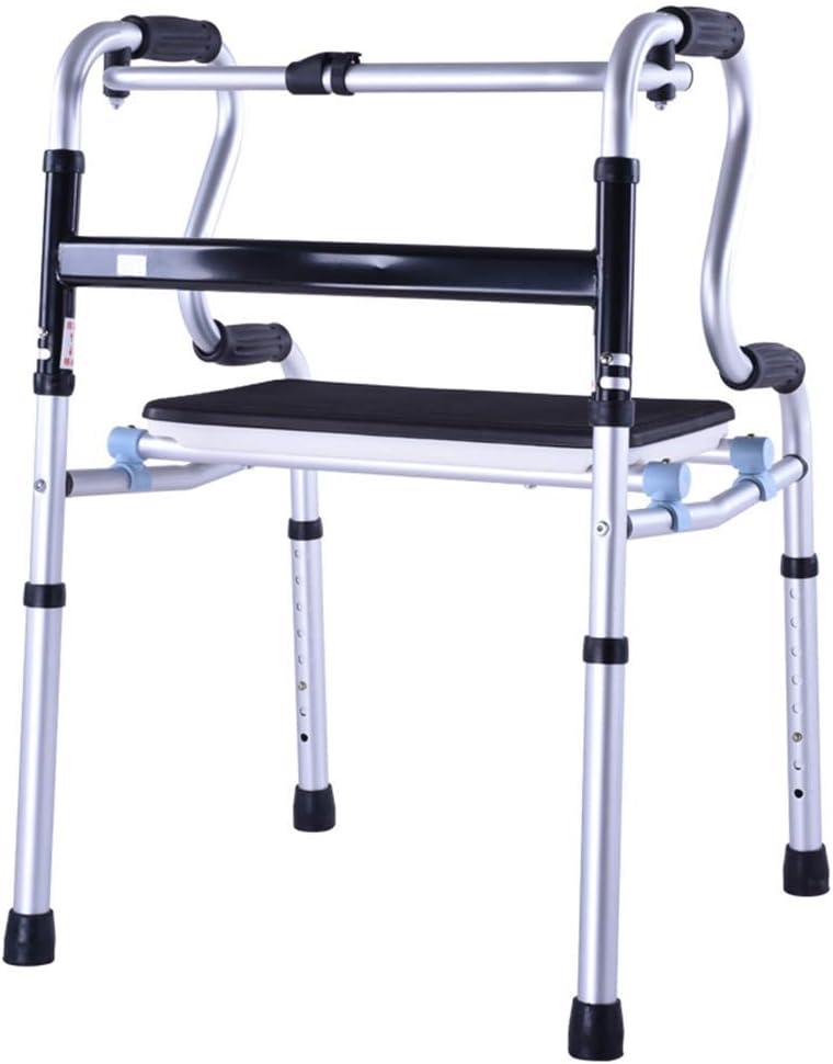 HYY-AA Ancianos sin ruedas Walker Caminar Caminar soporte del marco de lesionados con asiento Placa de cuatro patas Bastón antideslizante bastón con el Hospital